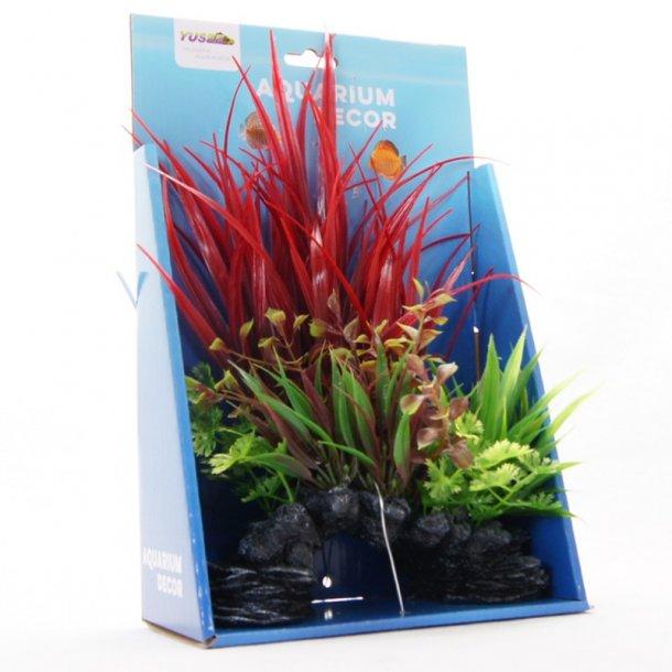 YUSEE - Græsklædte Planter på Klippen 18x9x30cm