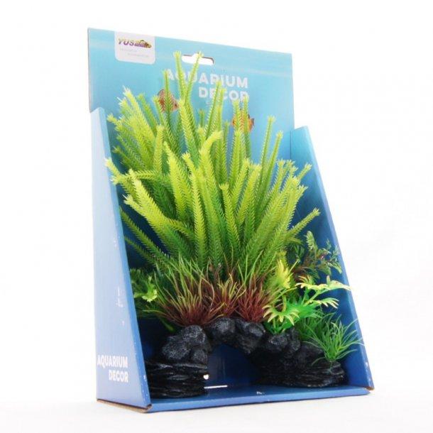 YUSEE -Grønne Planter på Klippen18x9x30cm